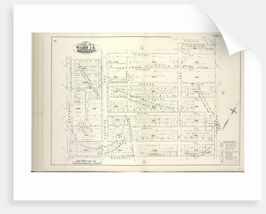 Map bound by La Fayette Ave., Himrod St., Stanhope St., Hamburg St., Magnolia St., Broadway; Including Van Buren Ave., Harman St., Greene Ave., Bleecker St., Ralph St., Grove St., Linden St., Central Pl., Bushwick Ave., Evergreen Ave., New York by Anonymous