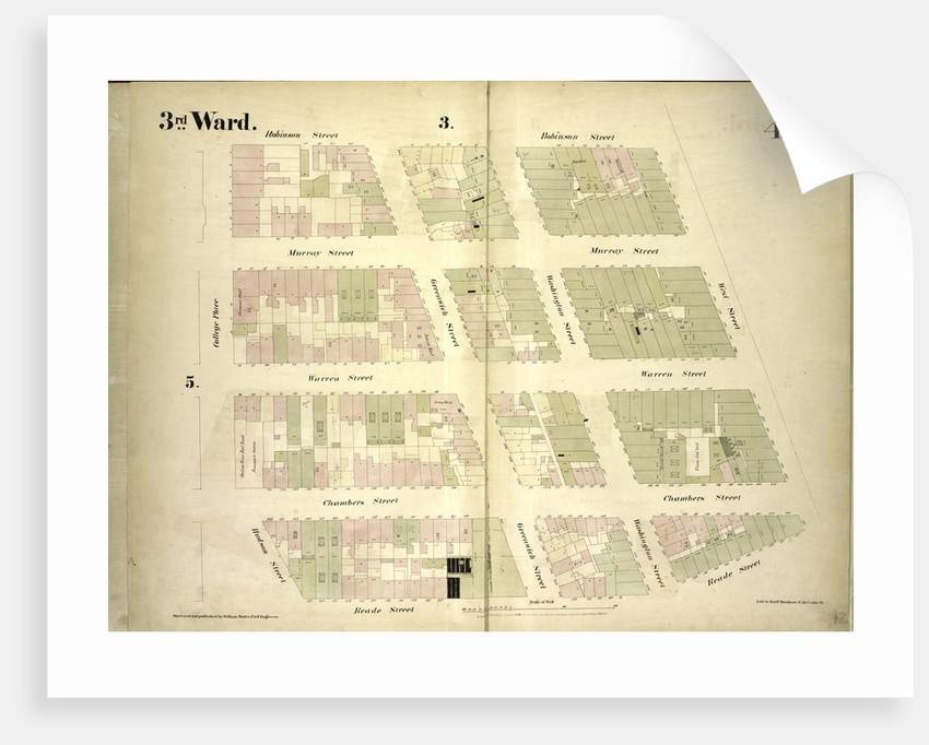 Map bounded by Robinson Street, West Street, Reade Street, Hudson Street, College Place; Including Murray Street, Warren Street, Chambers Street, Greenwich Street, Washington Street, New York by Anonymous