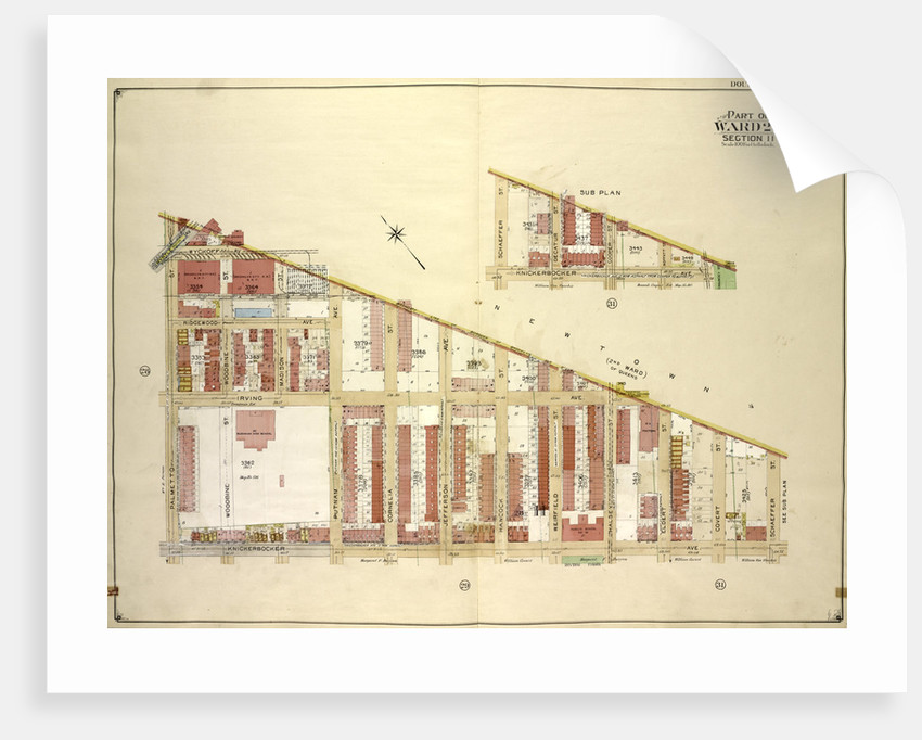 Map bounded by Boundry line of borough of Brooklyn and Queens, Schaeffer St., Kinckerbocker Ave; Including Palmetto St., Myrtle Ave; Sub Plan; map bounded by Schaeffer., New York by Anonymous