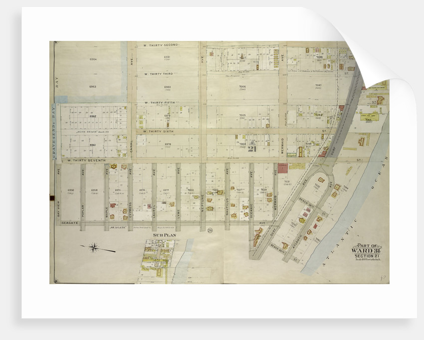 Map bounded by W. 32nd St., Atlantic Ocean, Beach 40th St; Including Surf Ave., Seagate Ave., Bay View Ave., Gravesend Bay, Canal Ave; Sub Plan, New York by Anonymous