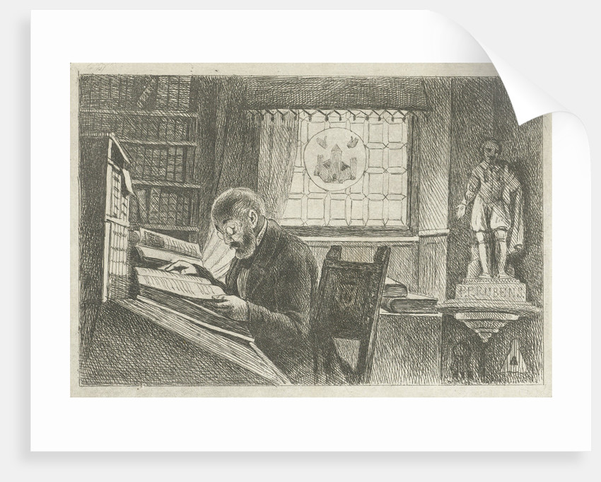 Portrait of Frederick Verachter at his desk in the archive by Philippus Jacobus van Bree