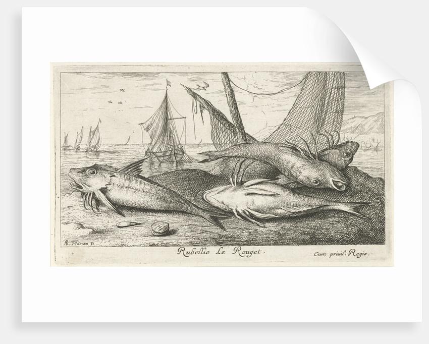Four fish on the beach by Albert Flamen