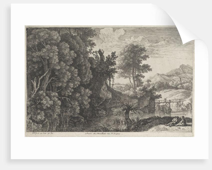 Landscape with a wooden bridge by Louis-Joseph Mondhare