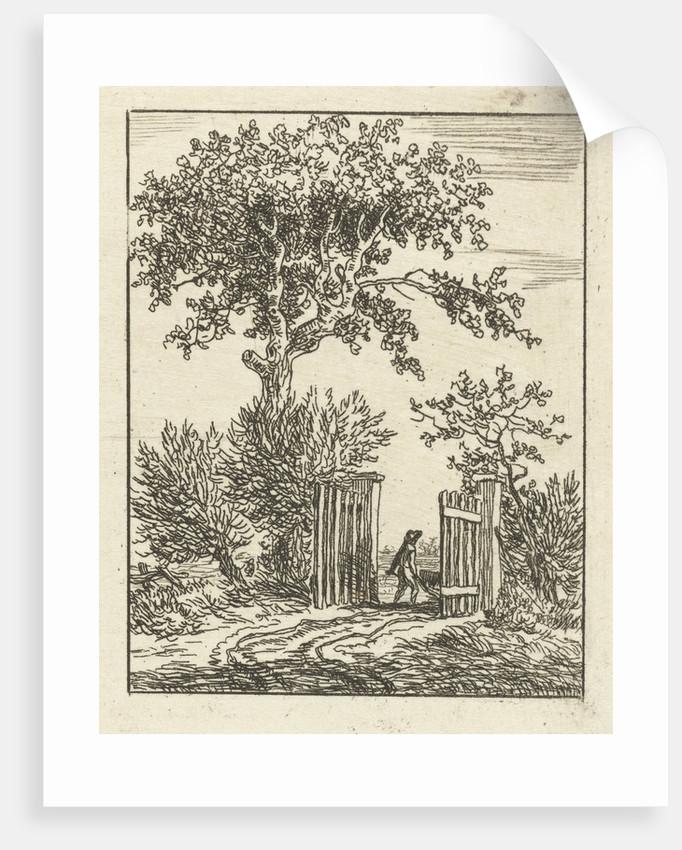Man with wheelbarrow walking through a fence by Anthonie van den Bos
