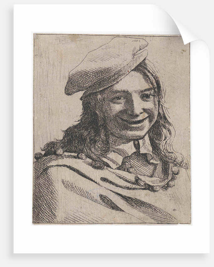 Bust of broadly smiling boy with beret by Michael Sweerts