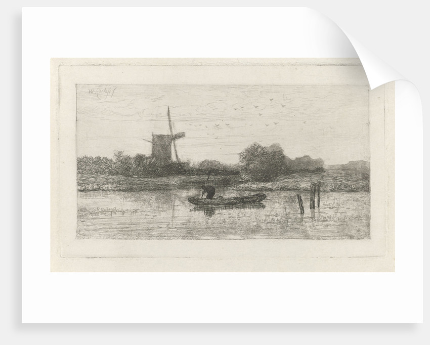 River view with fishing by Willem Roelofs I
