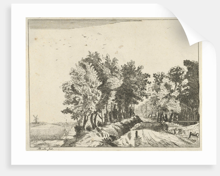 Landscape with a hut on the road by Anna Maria de Koker