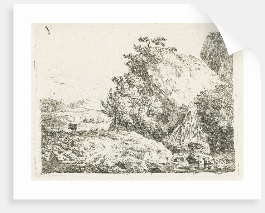 Mountain landscape with waterfall and walker by Frédéric Théodore Faber