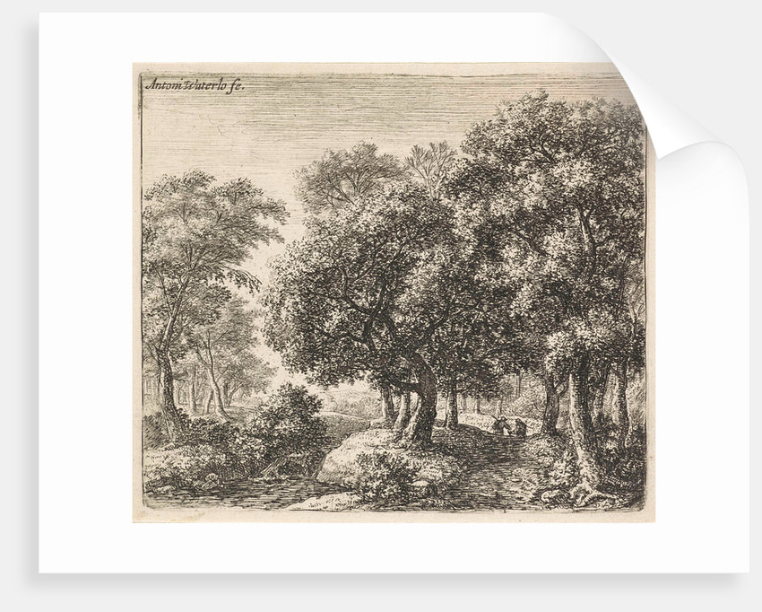 Two figures on a forest path by Anthonie Waterloo