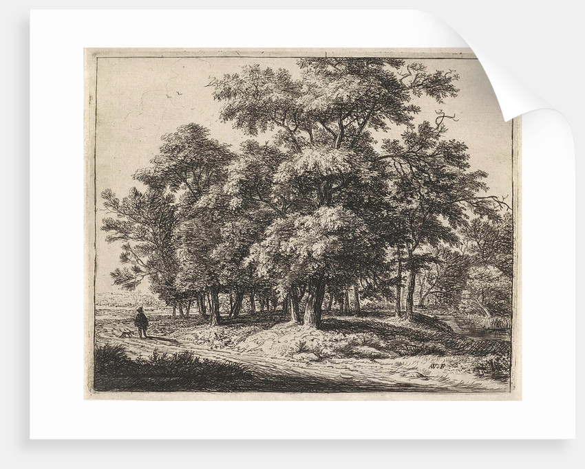 Man with dog in a forest by Anthonie Waterloo
