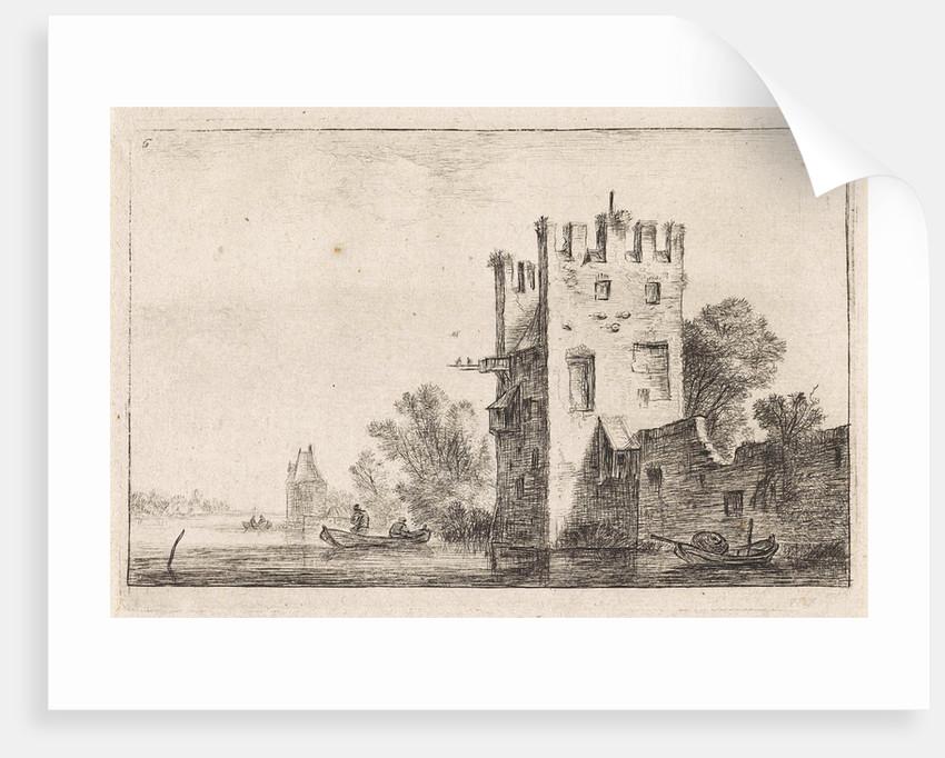 Square tower on the waterfront, Anthonie Waterloo, Justus Danckerts by Cornelis Danckerts II