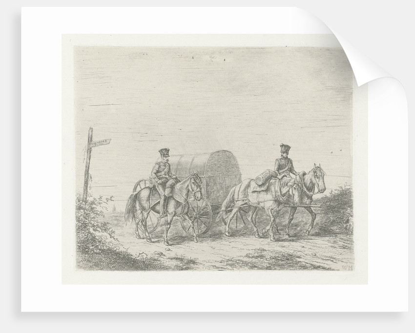 Two soldiers on horseback on the road by Christiaan Wilhelmus Moorrees