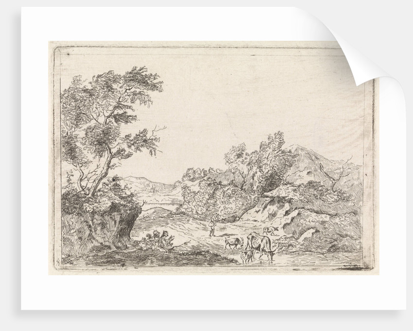 Mountainous landscape with cattle by Johannes Christiaan Janson