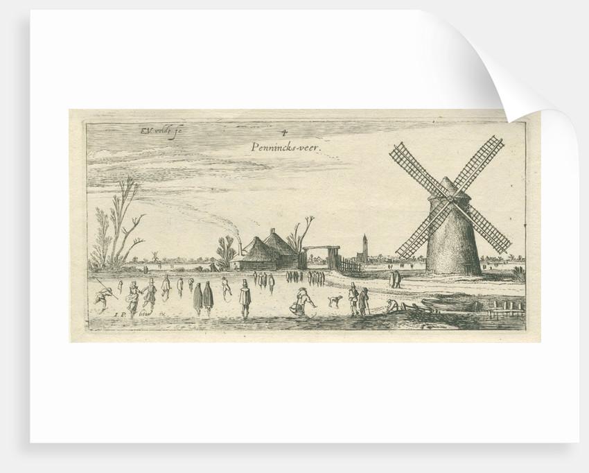 Skaters on the ice at a mill near Penningsveer by Esaias van de Velde