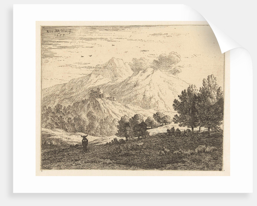 Landscape with four mountains by Karel Dujardin