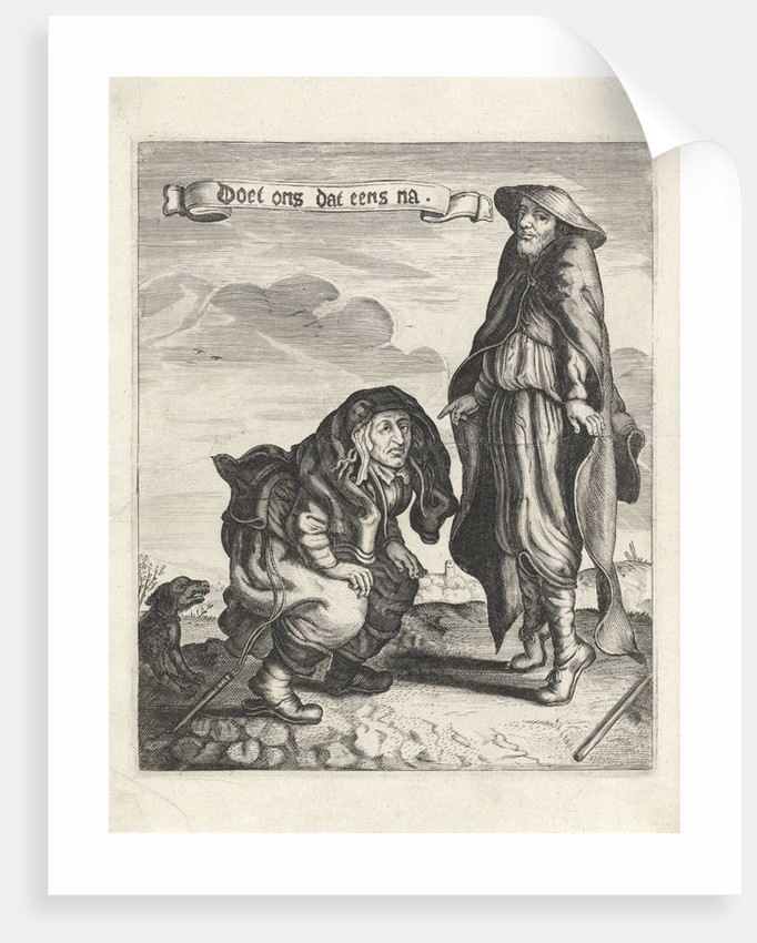 Beggars Couple with squatting woman and man on his toes by Anonymous