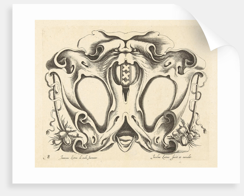 Lobe Cartouche with arms of Amsterdam by Frederik de Wit
