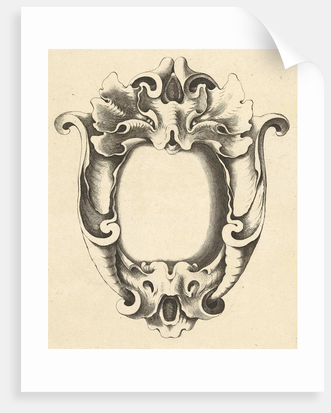 with two masks Cartouche by Frederik de Wit