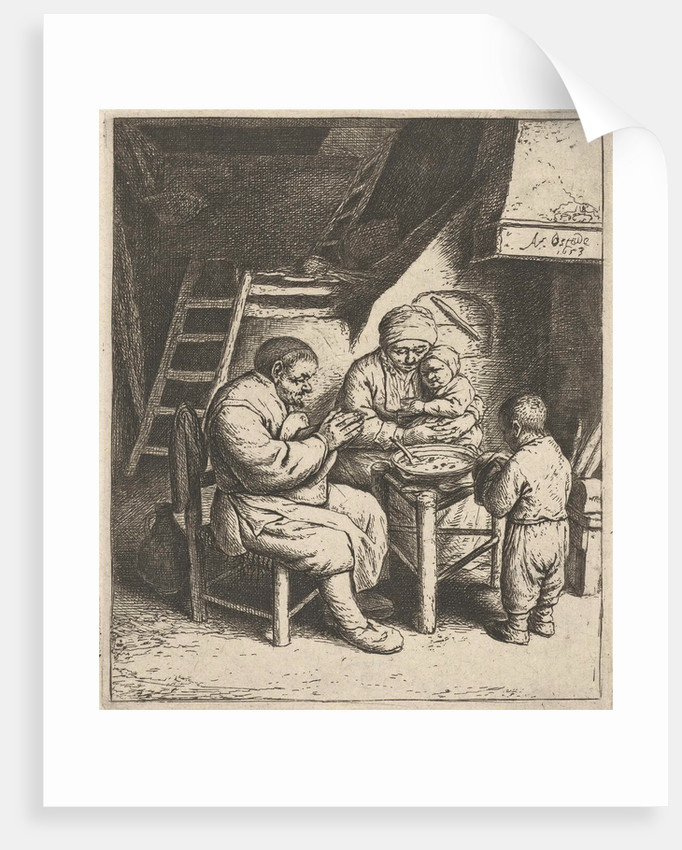 Family at the table for the meal by Adriaen van Ostade