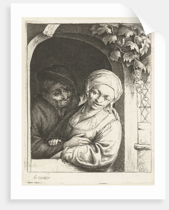 Farmer and his wife as love couple in a doorway by Adriaen van Ostade