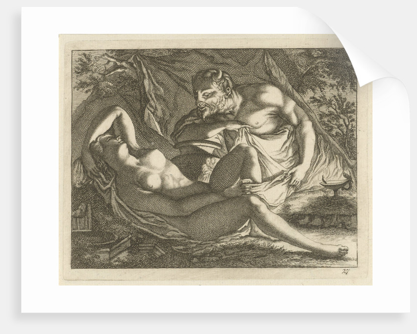 Sleeping Nymph watched by a satyr by Anonymous