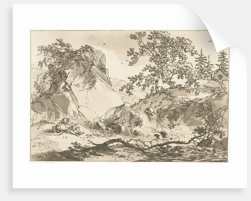 Hilly landscape with a man resting by Timothy Sheldrake