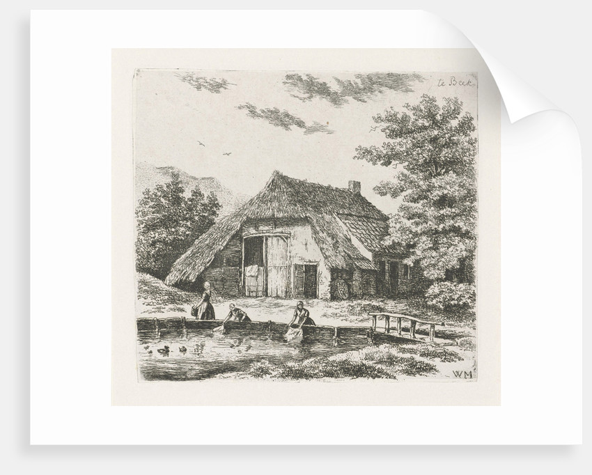 Three women doing laundry in the water for a farm in Beek by Christiaan Wilhelmus Moorrees