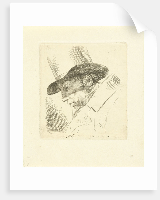 Portrait of Abraham Uytenbogaart with top hat by Jean Augustin Daiwaille