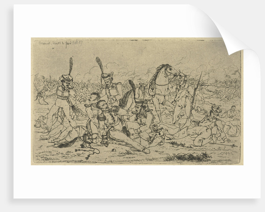One of his horse fallen General is helped by his men by Gerardus Emaus de Micault