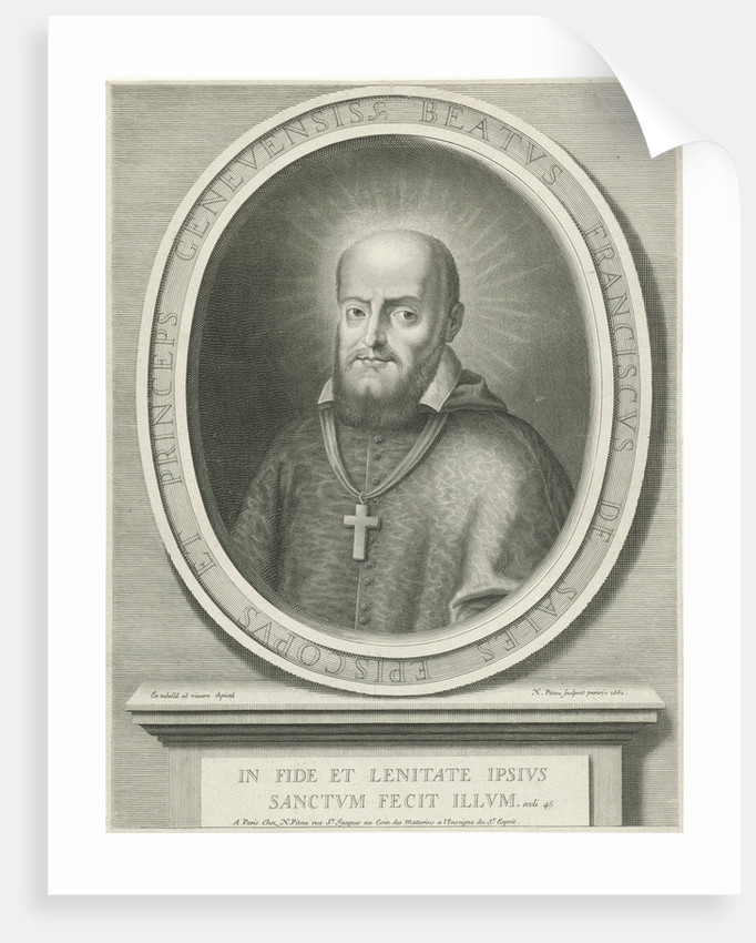 Portrait of St. Francis de Sales, a halo behind his head, he was bishop of Geneva and Annecy, on the pedestal a Bible quote by Nicolas Pitau I