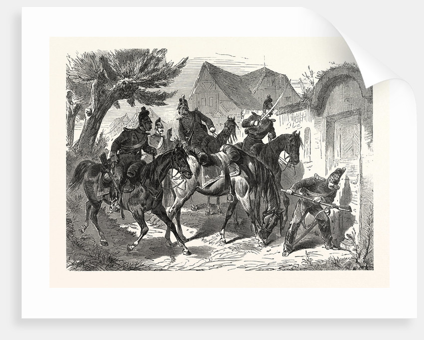 Bavarian Cavalry Patrol in a French Village, France by Anonymous