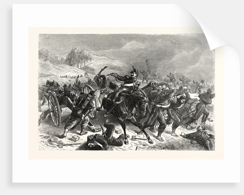 French Mitrailleusenbatterien Fled from the Saxon Infantry Regiment Friedrich August at Sedan, France by Anonymous