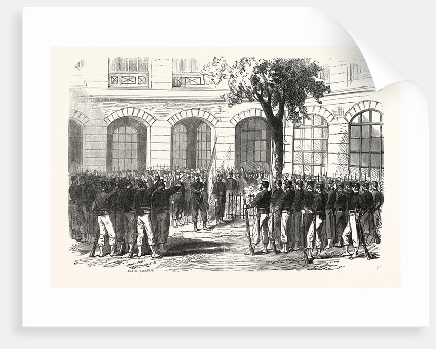 Francs-Tireurs of Paris Pledge Allegiance to Their Commander Aronsohn and to the Flag, to Conquer or Die. France by Anonymous