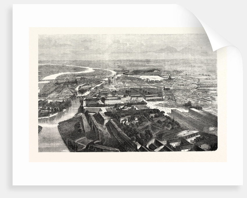 Bird's Eye View of the Fortress of Metz, Engraving 1870 by Anonymous
