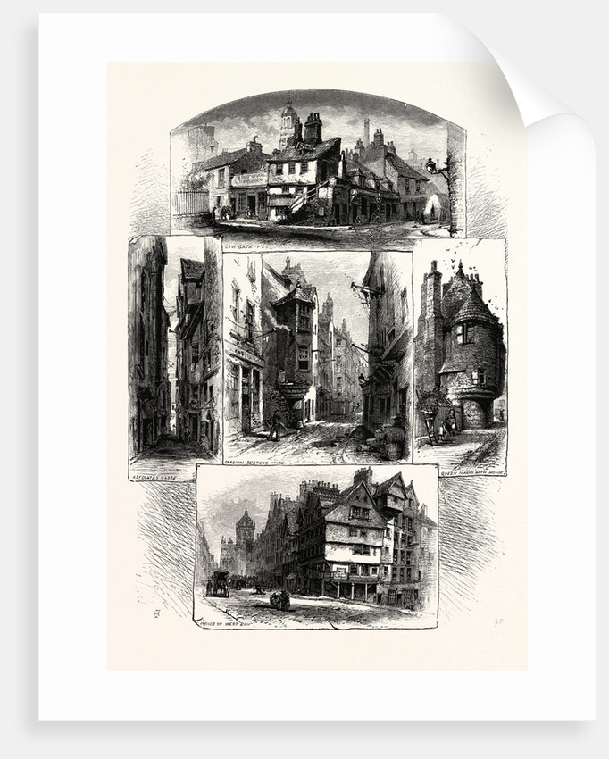 Bits in Old Edinburgh: Advocate's Close, Corner of West Bow, Cardinal Beaton's House, Queen Mary's Bath House, Cowgate; Scotland by Anonymous