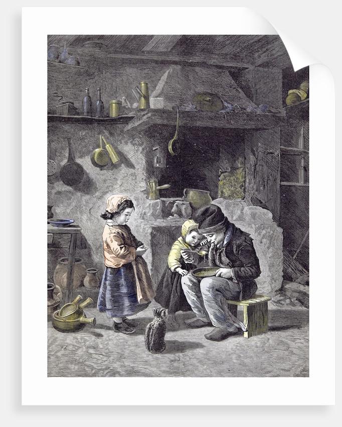 Breakfast Children Kitchen Cat 1877 by Anonymous