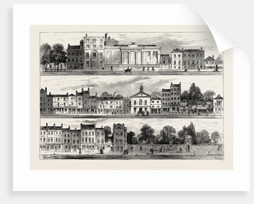 The North Side of Knightsbridge in 1820, from the Cannon Brewery to Hyde Park Corner by Anonymous