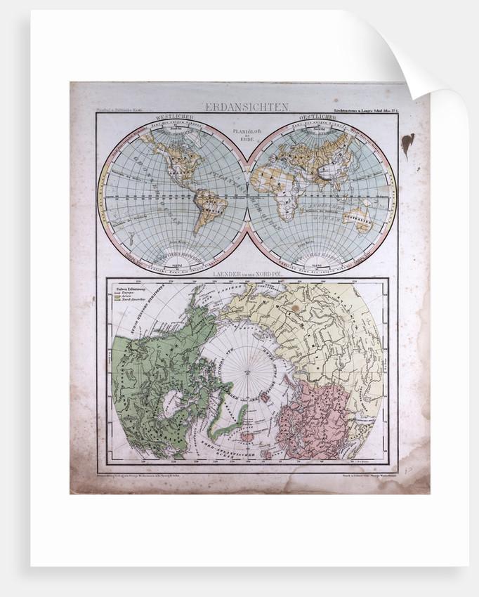Earth Map, antique map 1869 by Th. von Liechtenstern and Henry Lange
