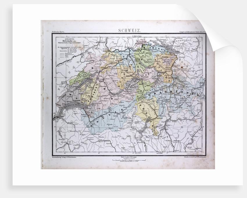 Switzerland, antique map 1869 by Th. von Liechtenstern and Henry Lange