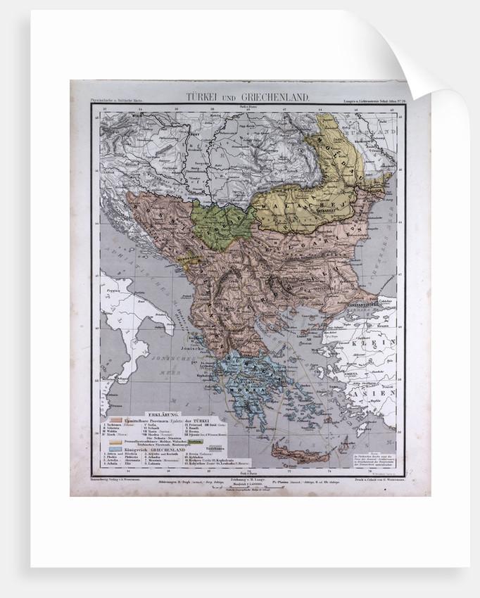 Turkey and Greece, antique map 1869 by Th. von Liechtenstern and Henry Lange