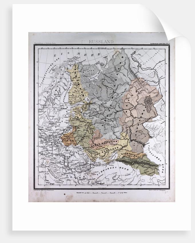 Russia, antique map 1869 by Th. von Liechtenstern and Henry Lange