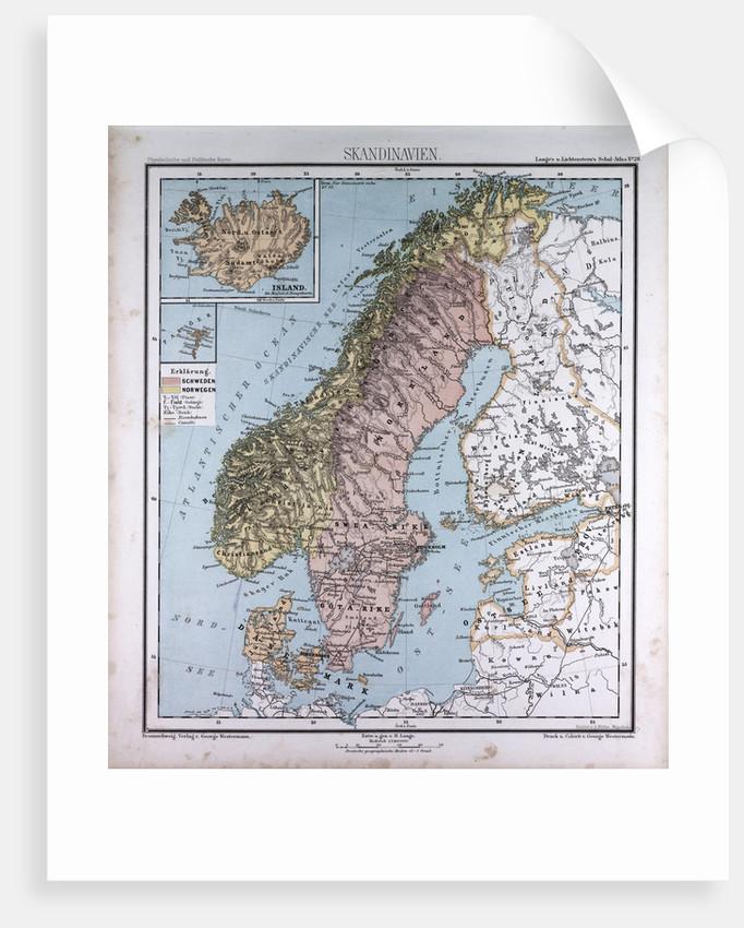 scandinavia northern europe antique map 1869 by th von liechtenstern and henry lange