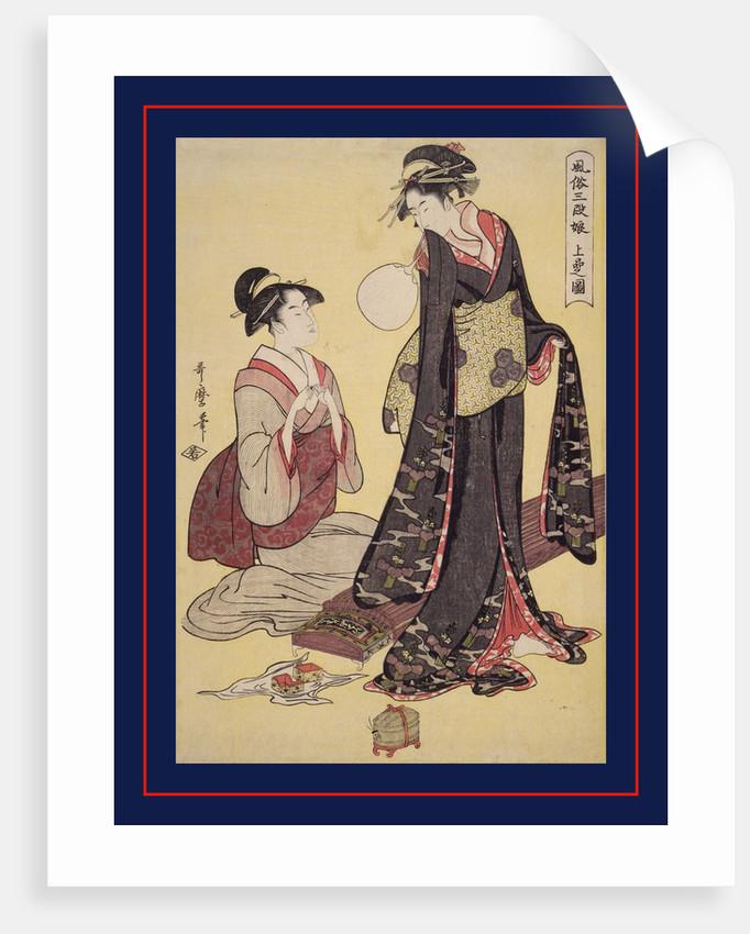 Jôbon no zu, Picture of the upper class. Fûzoku sandan musume, Three ranks of young women according to their fashions by Utamaro Kitagawa