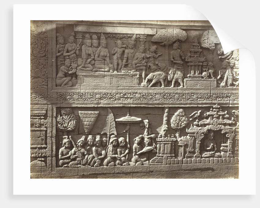 Lalitavistara relief on the main wall of the second gallery (south side) of Candi Borobudur, Magelang by Isidore van Kinsbergen
