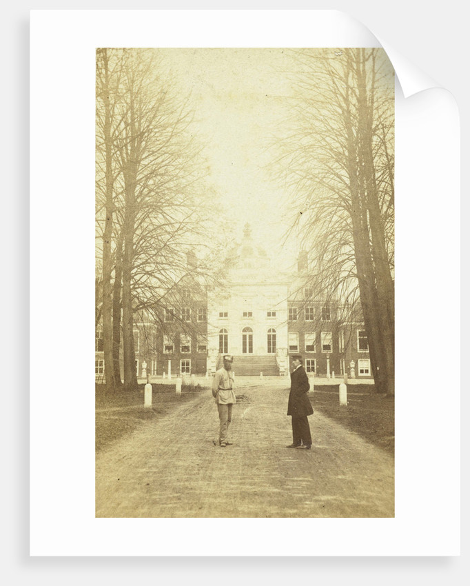 Palace Huis ten Bosch, with two men standing in the driveway, The Hague by Anonymous