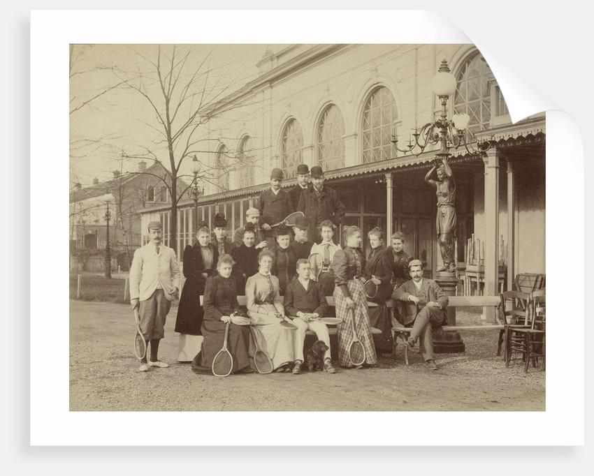 Group portrait of men and women with tennis rackets, far left Pauw van Wieldrecht, 1892 by Henry Pauw van Wieldrecht