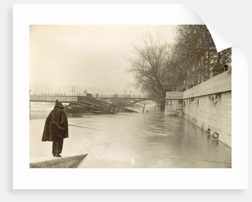 Flooded Seine banks, destroyed bridges and an angler during flooding of Paris, France by Anonymous