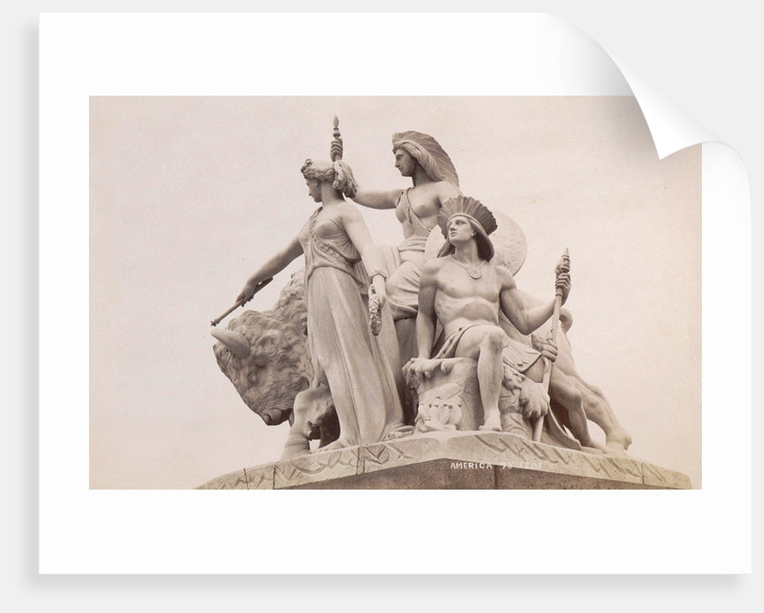 Group at the foot of the Albert Memorial in London: America by F.G.O. Stuart