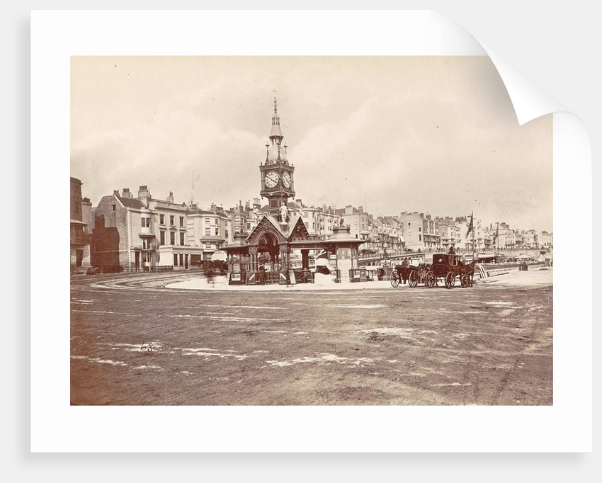 Aquarium Clock Tower Brighton, waiting beside horse carriages UK by Anonymous