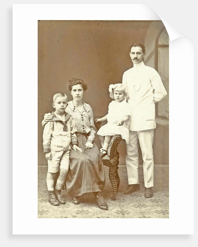 Family Portrait of husband, wife and two children by Anonymous